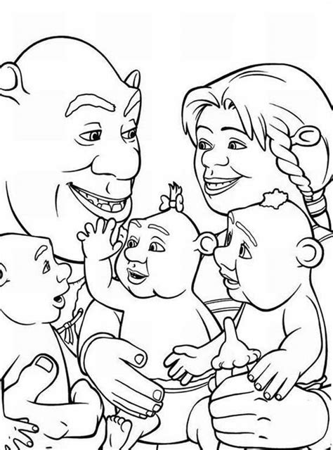 Shrek And Family Coloring Page  Color Luna sketch template