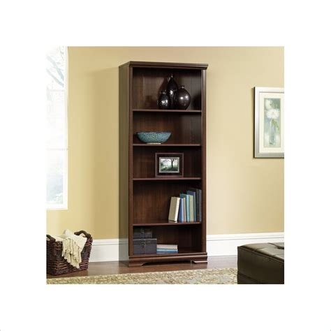 Sauder Carolina Estate 5 Shelf Bookcase In Select Cherry Sauder 5 Shelf Bookcase