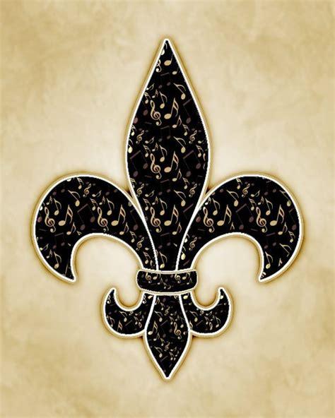 gold fleur de lis and black inscription on shoulder musical notes black and gold fleur de lis print musicals