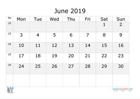 june  calendar  week numbers printable start  monday  printable  monthly