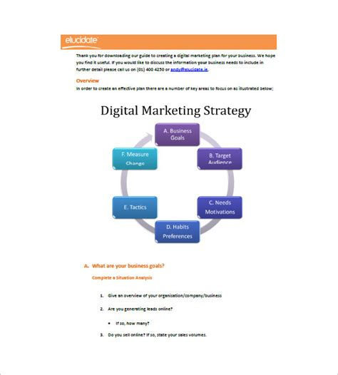 digital business plan template digital marketing plan template 11 free word excel