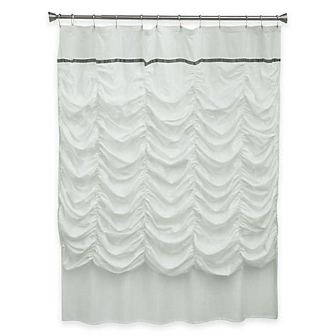 bed bath and beyond ruffle shower curtain bacova grace shower curtain in white bed bath beyond