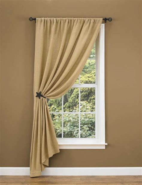 single curtain burlap unlined single tieback curtain panel