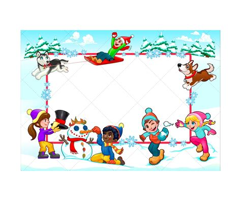 printable winter greeting cards kids winter illustration and greeting card vector