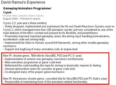 Resume 3rd Person by Crytek Cancels Unannounced 3rd Person Shooter Working On
