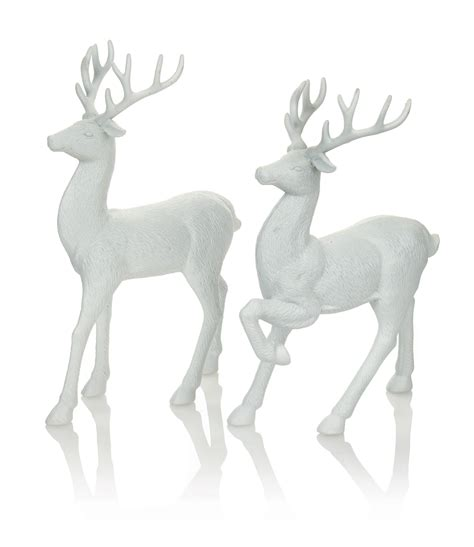 set of 2 white reindeer christmas decorations display