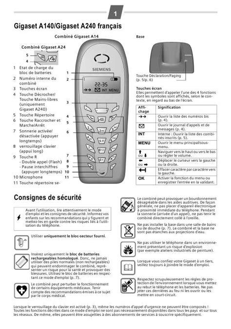 mode d emploi siemens gigaset a240 t 233 l 233 phone sans fil