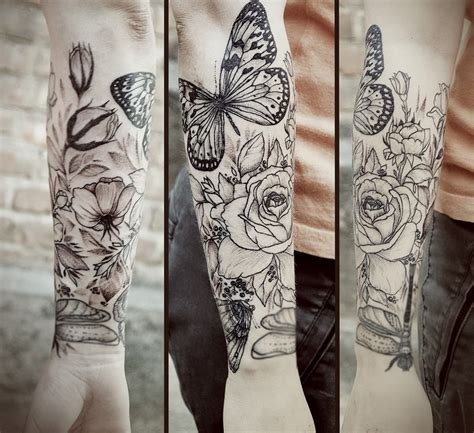 butterfly and roses tattoos and butterfly by diana severinenko design of