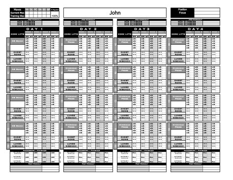 gold strength conditioning templates excel training