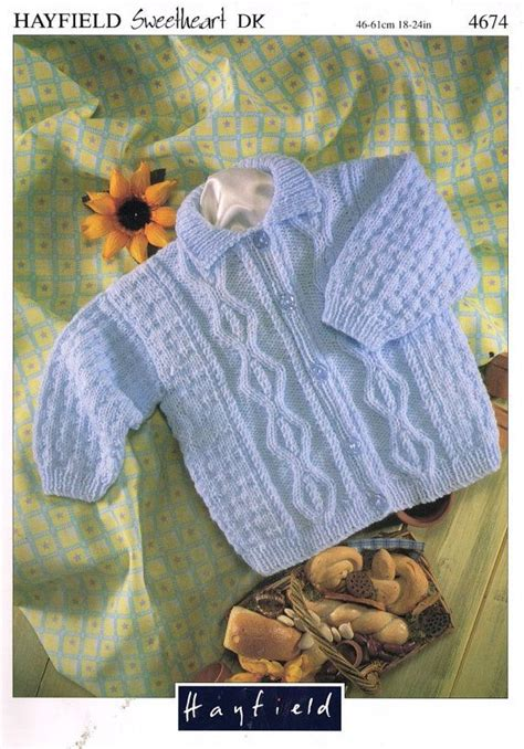 hayfield knitting patterns for babies hayfield 4674 baby aran cable stitch cardigan vintage