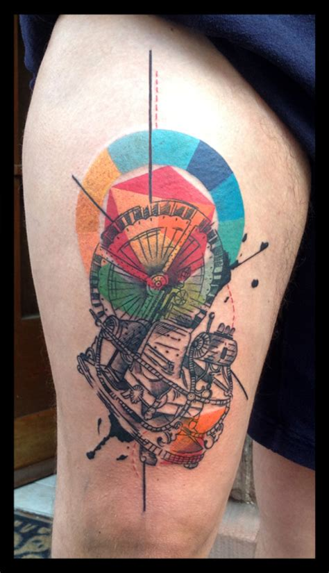 abstract time machine tattoo by live two best tattoo