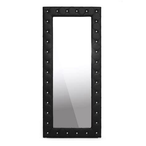 Black Floor Mirror by Baxton Studio Stella Tufted Black Modern Floor Mirror