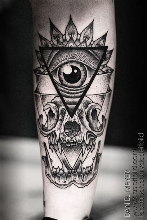 eye tattoo with skull all seeing eye and skull tattoo on arm b w tattoos