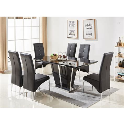 Black Gloss Dining Table And 6 Chairs Glass Dining Table In Black Gloss With 6 Dining