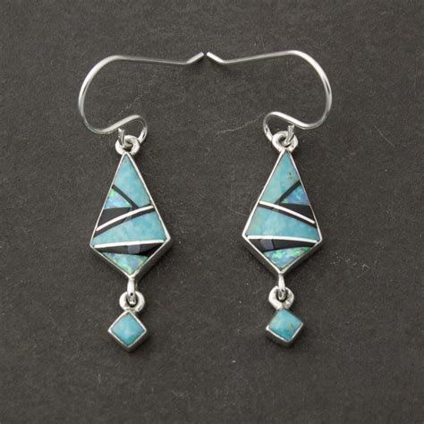 Turquoise And Onyx Inlay Earrings