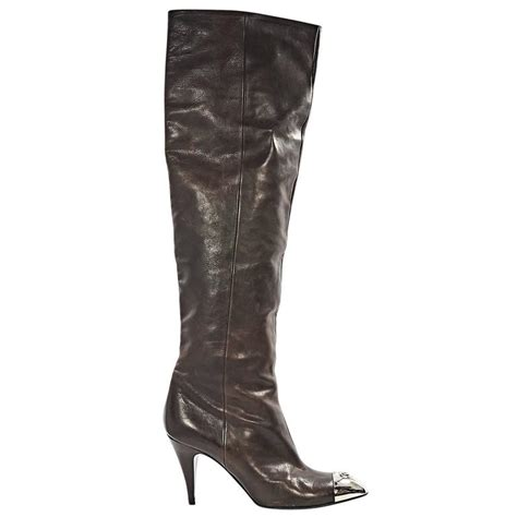 brown chanel leather heeled boots for sale at 1stdibs
