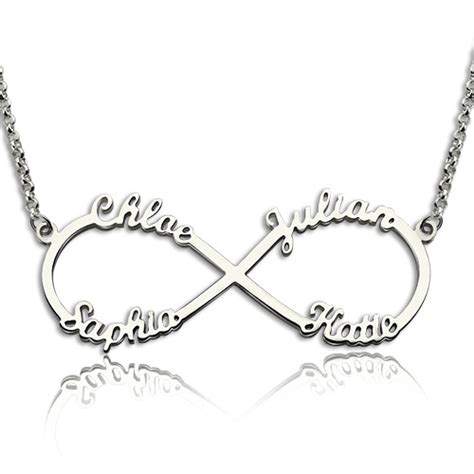 infinity sign with names sterling silver infinity symbol necklace 4 names