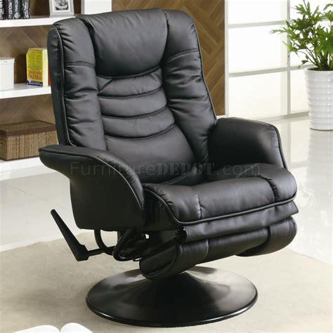 black leatherette modern swivel recliner chair wround base