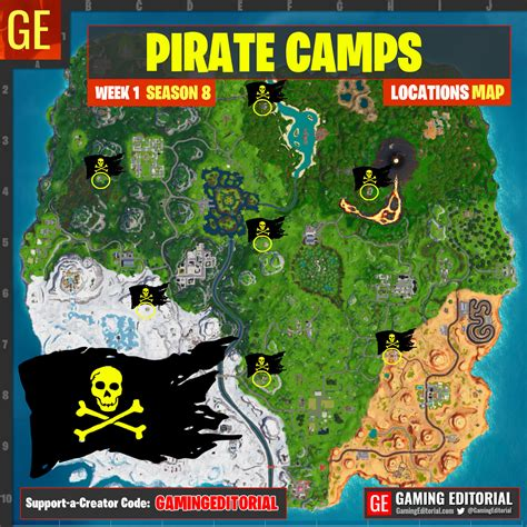 pirate camp locations map fortnite week  challenge