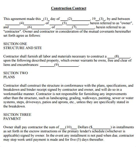 free construction contract template simple contract template 7 free pdf doc