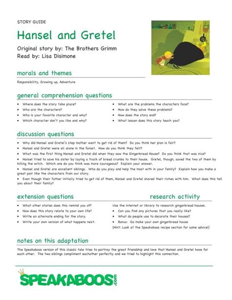 lessons from my books lesson plans hansel and gretel speakaboos worksheets