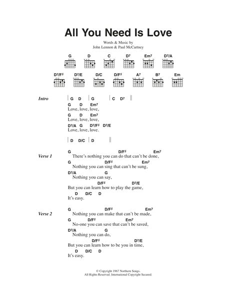 All You Need Is Love Chords Chorus