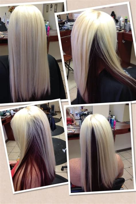 blonde highlight red on bottom after platinum blonde on top with mahogany red on bottom