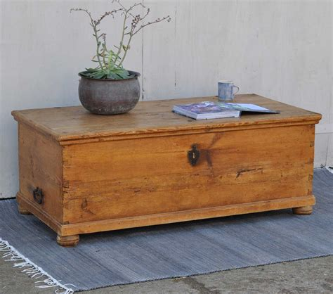 Antique Pine Blanket Box Linen Chest Coffee Table Home Pine Chest Coffee Table