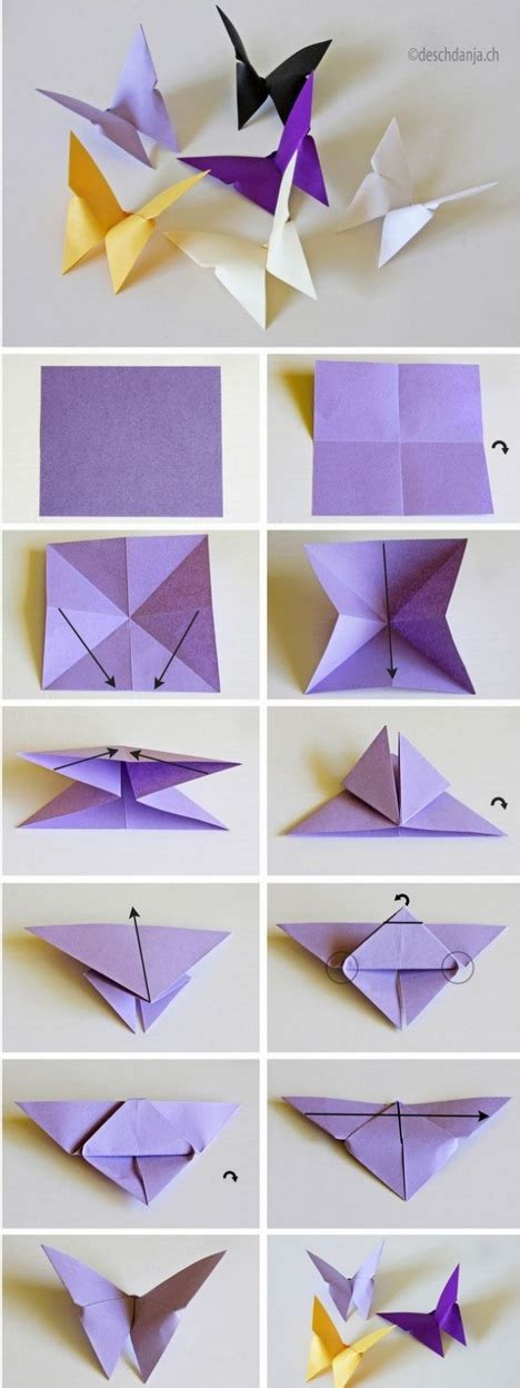Easy Paper Folding Projects - colorful diy butterfly crafts projects to make your