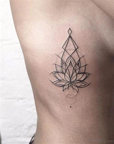 geometric lotus tattoo classic lotus tattoos on rib