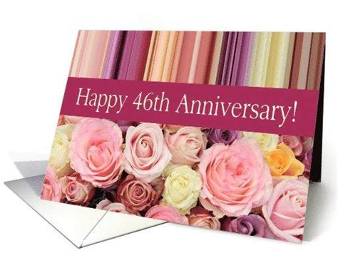 46th Wedding Anniversary Card   Pastel roses and stripes