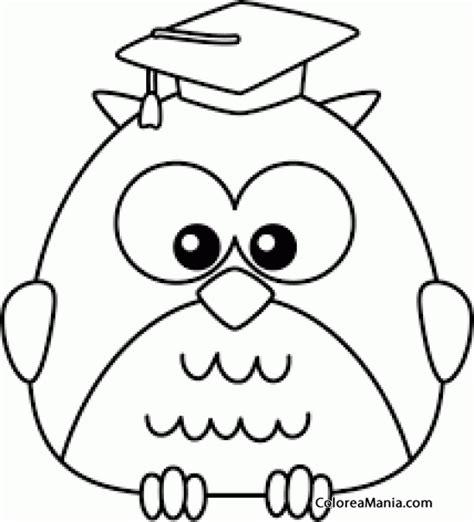 imagenes para pintar buhos colorear bho con birrete aves dibujo para colorear gratis