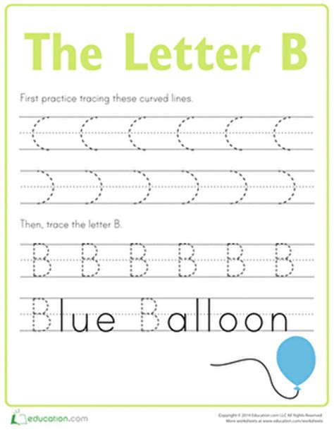 letter b tracing practice | worksheet | education.com