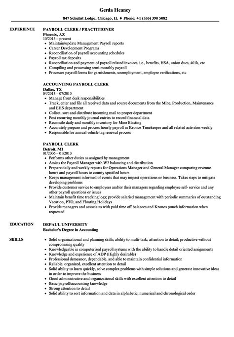 Payroll Clerk Resume by Payroll Clerk Resume Sles Velvet
