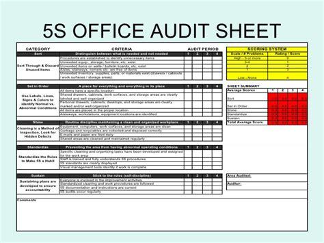 audit score card template 5 s office audit sheet