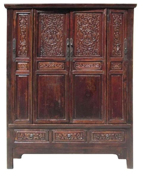 asian armoire chinese antique solid wood hand carving armoire cabinet