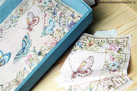 decorar con servilletas tutorial decorar una bandeja con servilletas y chalk paint