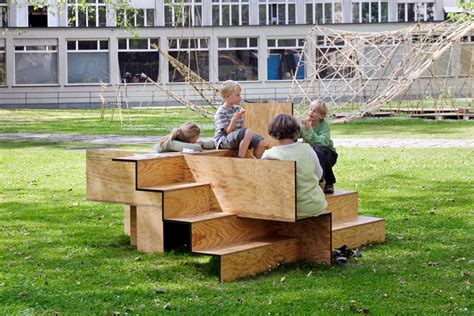 public couch wooden stair public furniture by sebastian marbacher