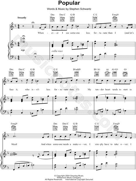 printable lyrics popular wicked quot popular quot from wicked sheet music in f major