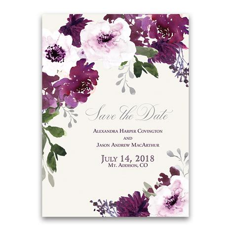 Wedding Card Design Floral by Burgundy Plum Floral Watercolor Wedding Invitations
