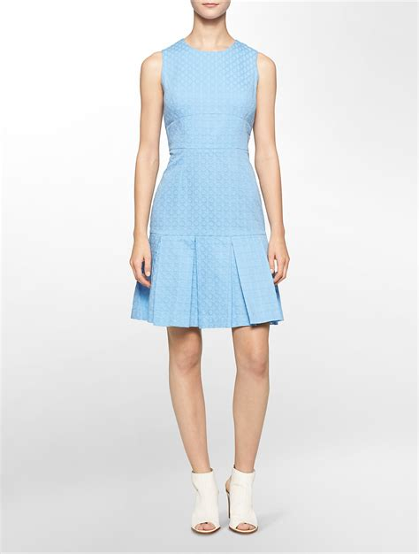 light blue fit and flare dress lyst calvin klein white label textured pleated