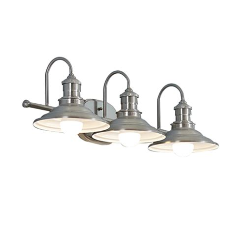 3 Light Bathroom Fixtures Shop Allen Roth Hainsbrook 3 Light 7 48 In Antique Pewter Cone Vanity Light At Lowes