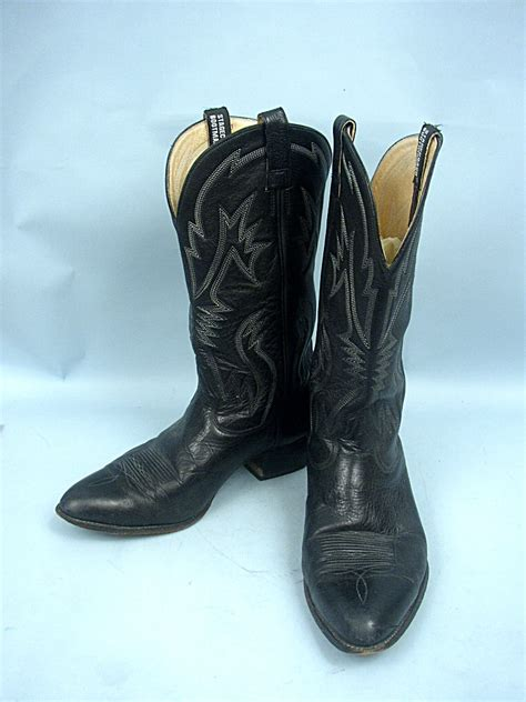 Handmade Mexican Boots - stagecoach bootmakers black leather western boots size 9