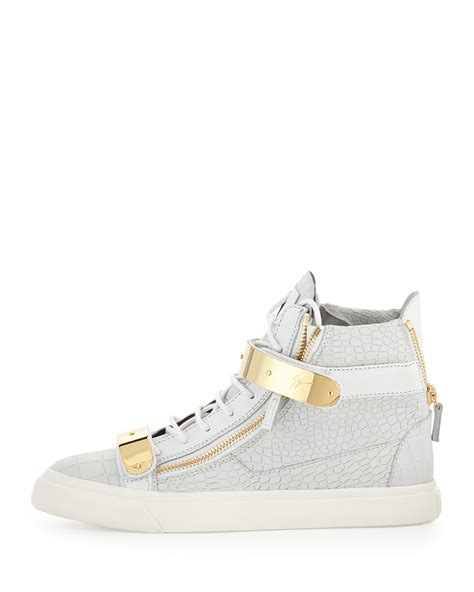 white mens sneakers giuseppe zanotti mens plated high top sneakers in white