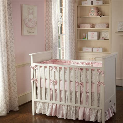Pink And Taupe Damask Crib Bedding Girl Crib Bedding Bedding Sets For Nursery