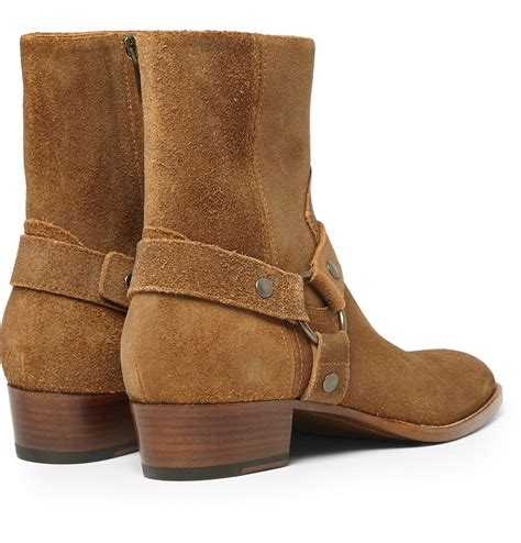 harness boots saint laurent suede harness boots in brown for men lyst