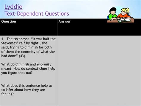 Or Questions 18 Text Lyddie Lesson Four Unit 1
