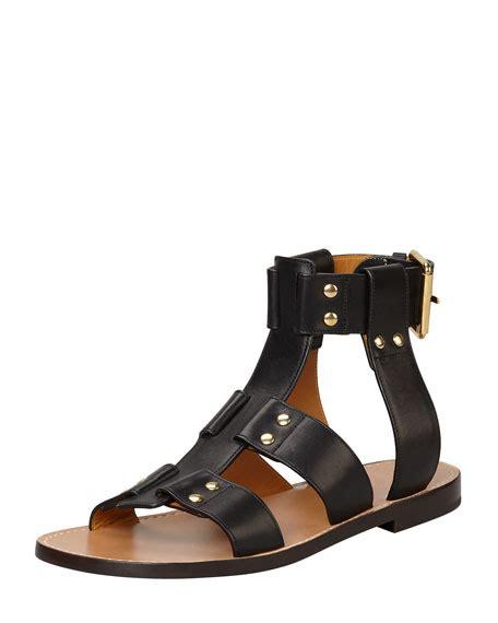 Flat Studed flat studded leather sandal black
