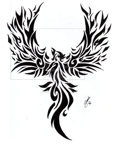 black and white phoenix tattoo designs tribal by troublestripe on deviantart