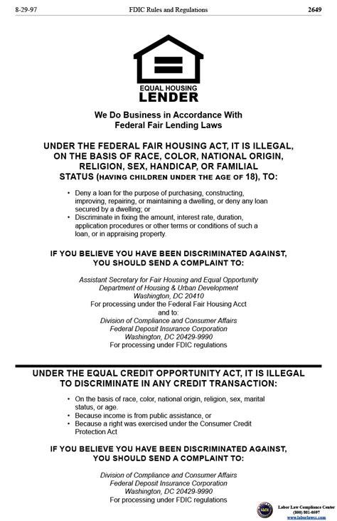 printable fair housing poster fair lending poster